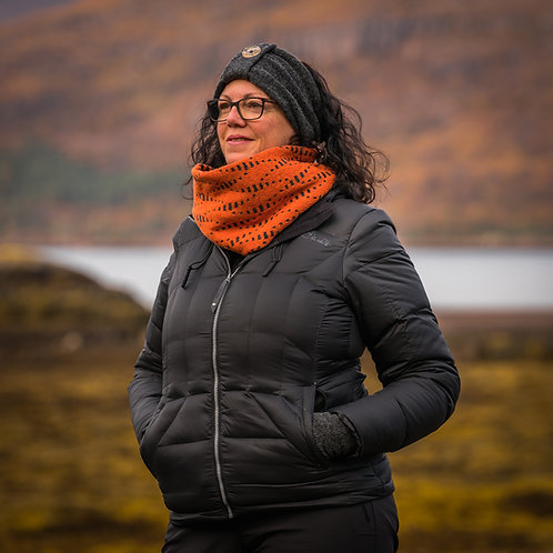 Women's Cowl. Scottish lambswool Snood. Burnt Orange Unisex Scarf.