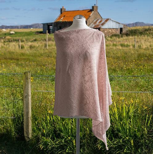 Textured Asymmetric Poncho - Blush Pink
