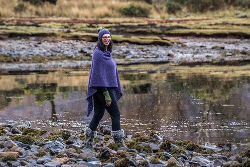 Purple lambswool asymmetric women's poncho