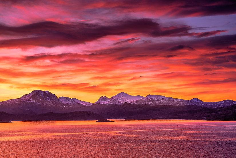 Sky on fire sunrise above Torridon, Loch Gairloch, Wester Ross