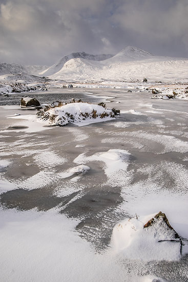 Frozen Lochan Stainge looking towards the Black Mount mountains