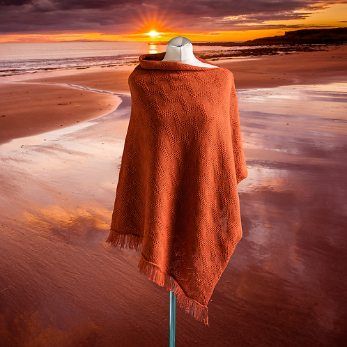 Seashore Merino Women's Poncho - Sunset Orange