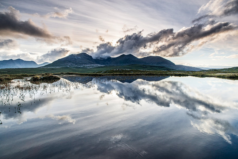 Mirror image of An Teallach reflecting in a Lochan.