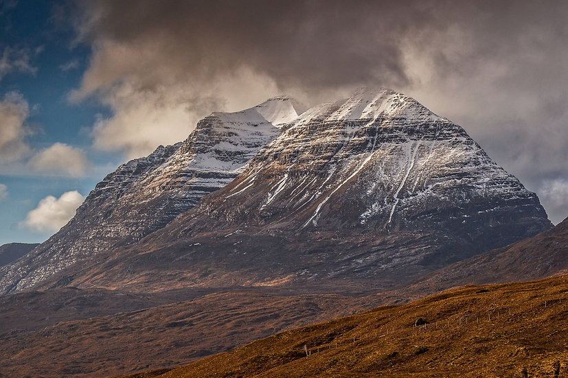 Clouds clearing Liathach after a snow shower, Glen Torridon.