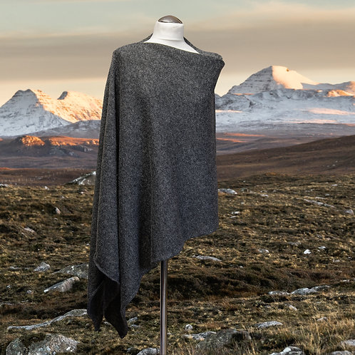 Charcoal grey lambswool asymmetric women's poncho