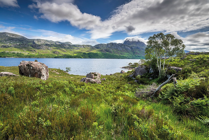 The shores of Loch Maree and Slioch looking very green