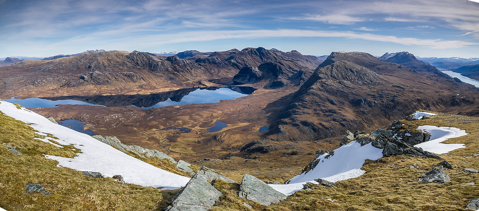 Looking across Fionn Loch towards the Fisherfield mountains