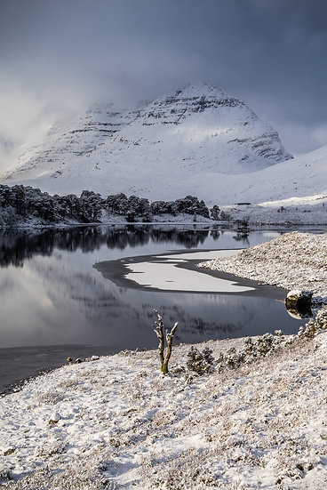 Looking across Loch Clair towards a snow covered Liathach
