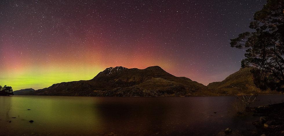 Aurora over Beinn Airigh Charr and Slioch, Loch Maree.
