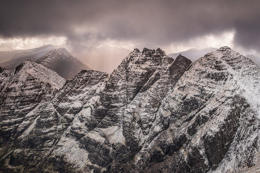Looking down the An Teallach ridge before the next snow shower.