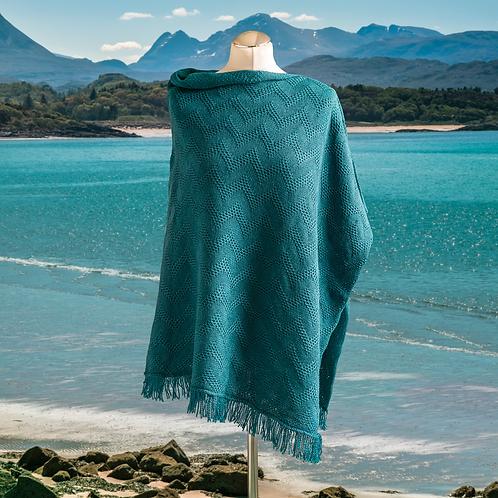 Seashore Merino Textured Women's Poncho - Teal