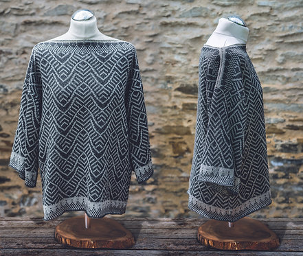 Ripples Tunic Black Tweed and Silver Grey