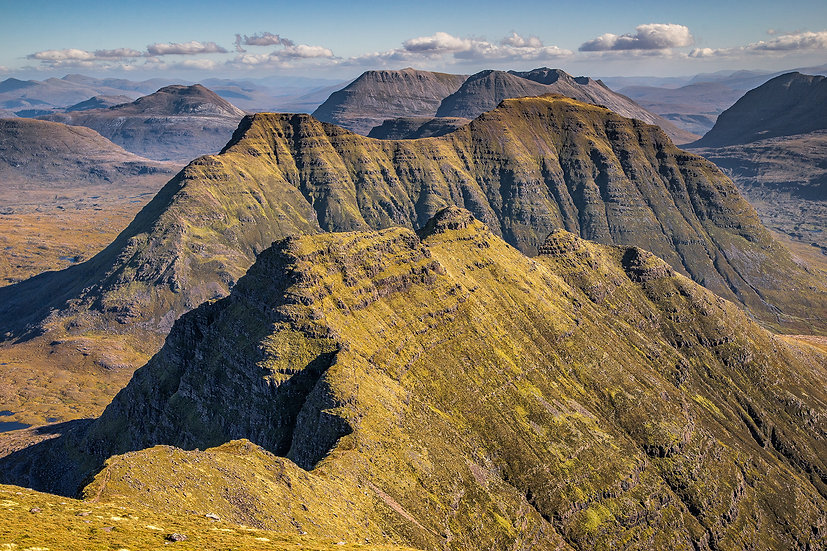 Looking towards the Horns of Beinn Alligin from the summit of Sgurr Mhor