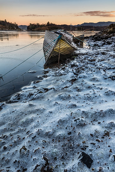 Frozen shoreline at Badachro Bay.