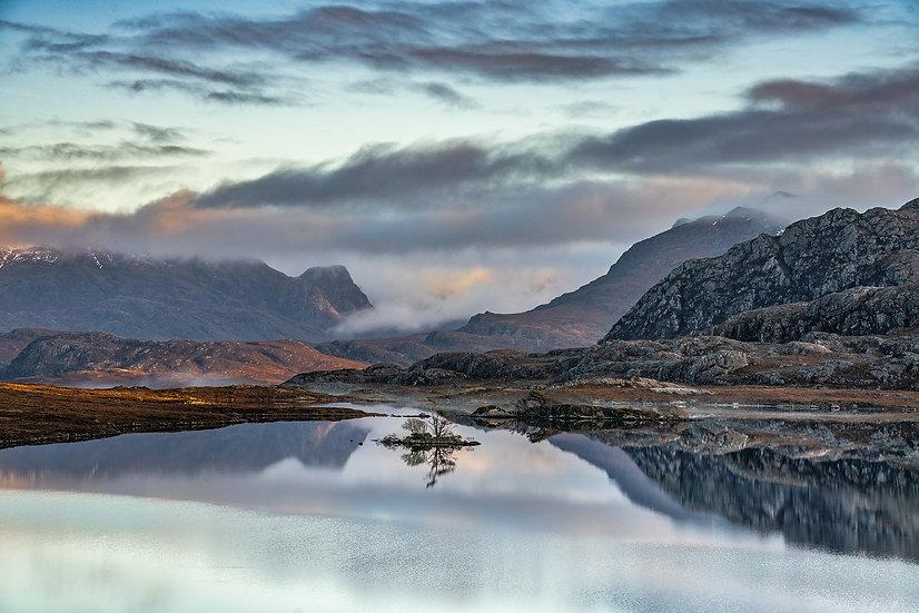 Lookign across a calm Loch Tollaidh towards Beinn Airigh Charr.