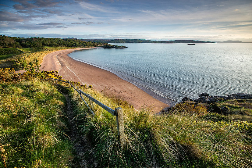 Path leading down to Gairloch Beach on a summer evening.