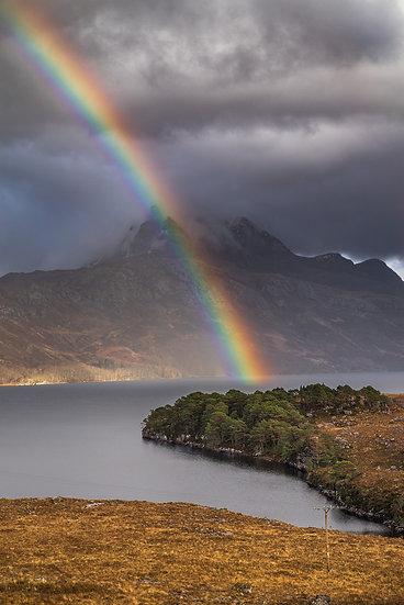 Rainbow striking through Slioch