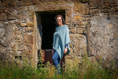 Blue Tweed Crofter Donegal Wool Poncho