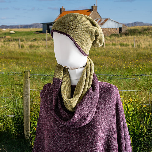 Highland Merino Silk Reversible Beanie Green and Wine