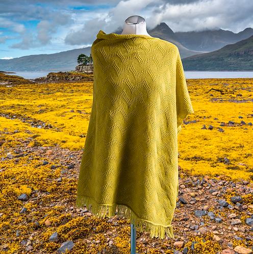 Seashore Merino Textured Women's Poncho - Mustard