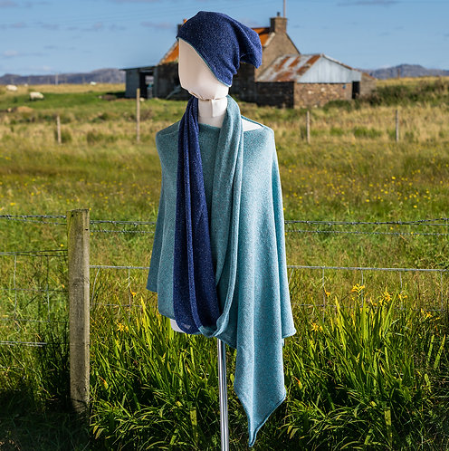 Highland Merino Silk Infinity Scarf Blue