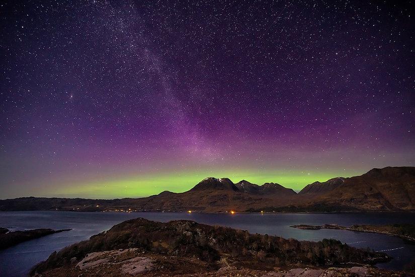 Aurora and Milky Way above Beinn Alligin and Liathach, Torridon.