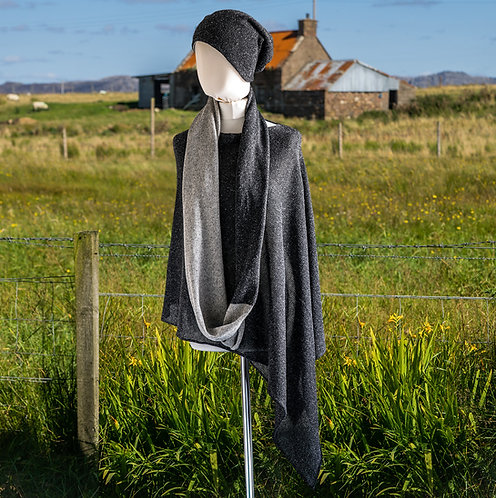 Merino Silk Infinity Scarf Black and Silver Tweed
