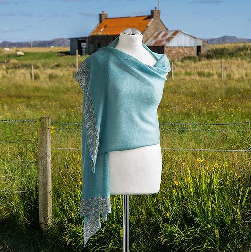 Merino wool wrap in ice blue.