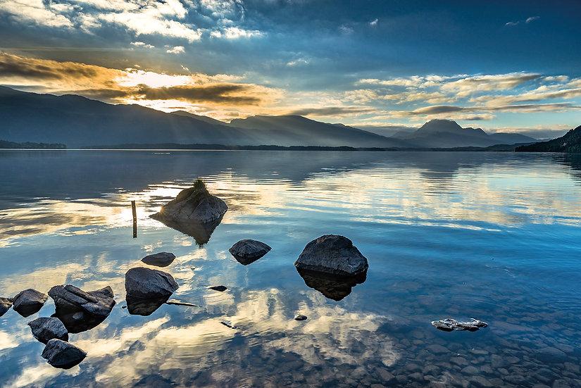 Sun rising above Beinn Lair