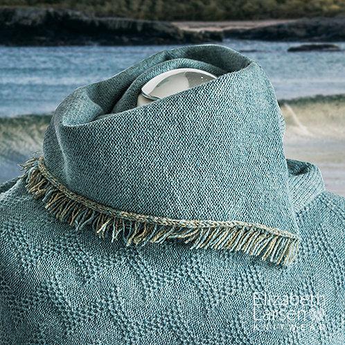 Merino wool blue melange fringed asymmetric cowl.