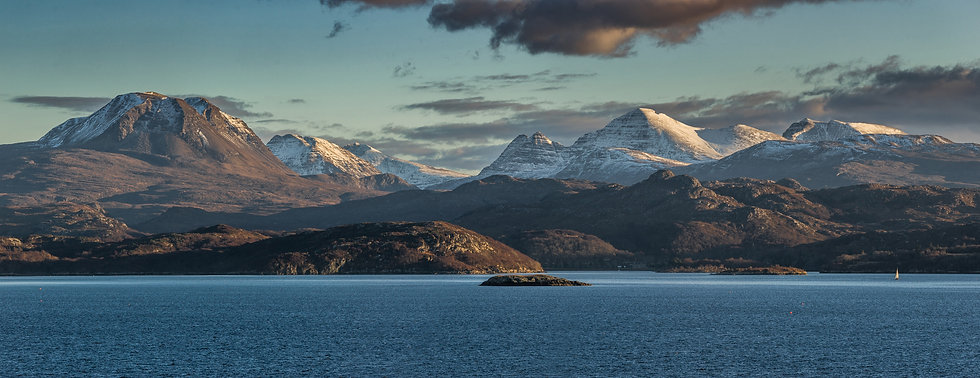 Late afternoon sunlight on Baosbheinn and Beinn Alligin, Torridon