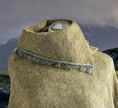 Merino wool green melange fringed asymmetric cowl.