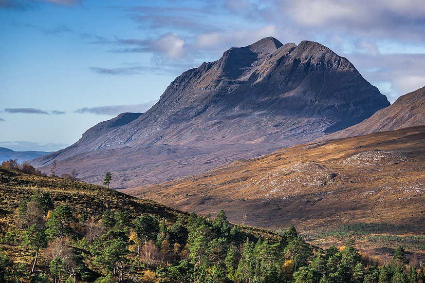 Looking down an autumnal Glen Torridon towards Liathach 'The Grey One'.