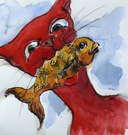 red cat II 14 19.45 x 21.5 cm