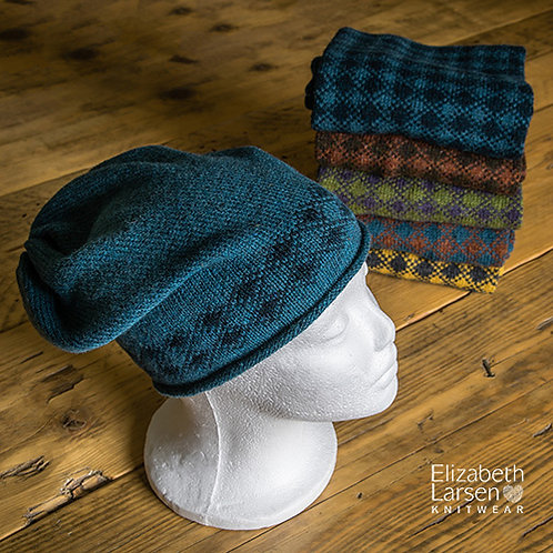 Torridon Slouch Beanie Teal and Midnight Blue