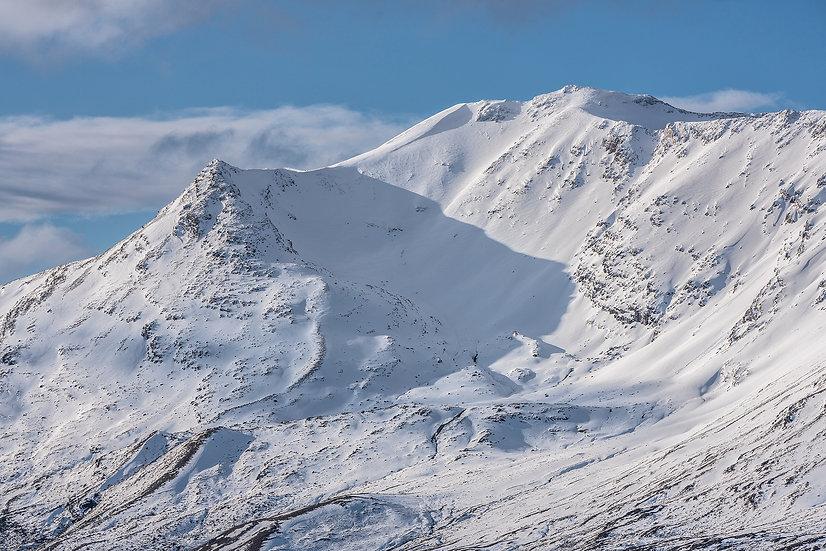 Sidean Coire nan Clach and Stuc Coire an Laoigh (Beinn Eighe) after heavy snow.