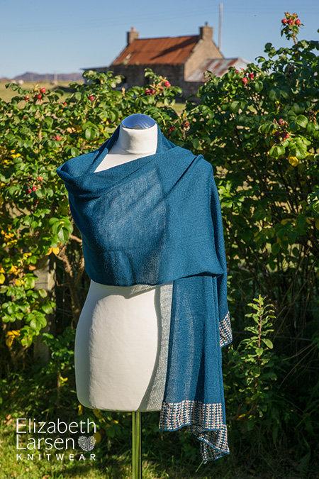 Merino wool wrap in teal.