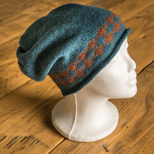 Torridon Slouch Beanie Teal and Rust