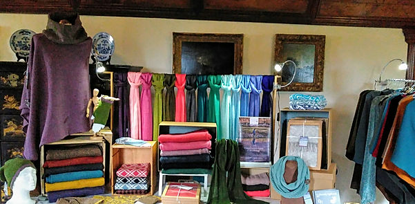 Elizabeth Larsen Knitwear at Crathes Castle, Aberdeenshire. Knitwear designed and made in Scotland