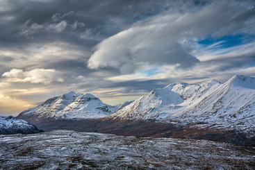 Late afternoon catching the snow covered tops of Liathach and Beinn Alligin, Torridon, Wester Ross