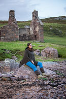 Torridon lambswool poncho knitted by Elizabeth Larsen Knitwear, Scotland.