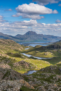 Looking across the Lochans towards Slioch and Loch Maree.