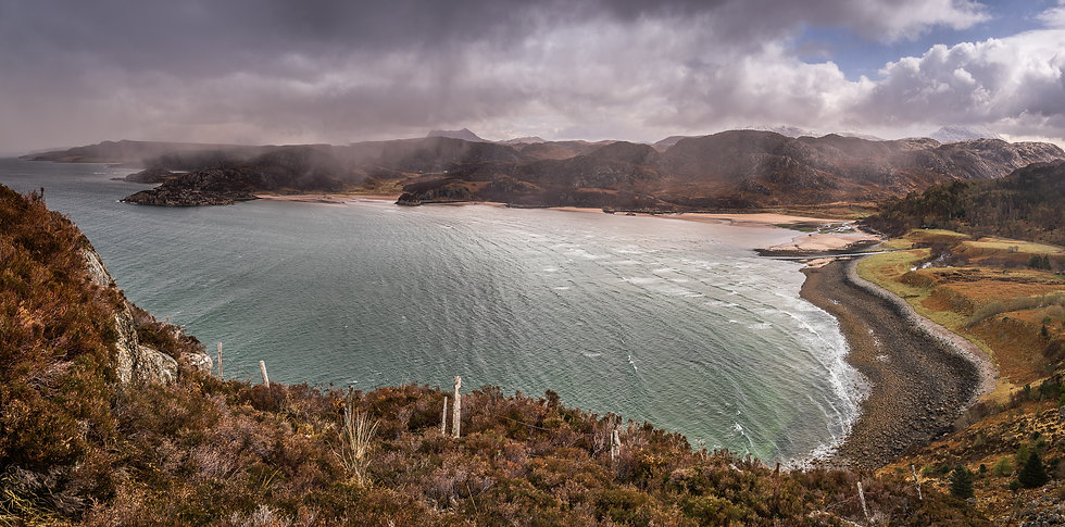 Spring showers over Gruinard Beach.