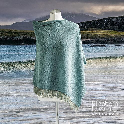 Merino wool blue melange textured asymmetric poncho