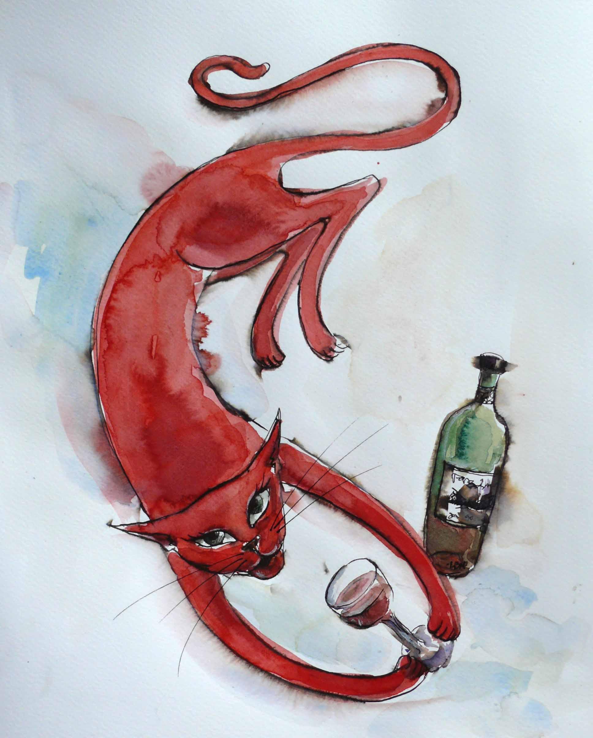 red cat IV 14 28 x 34 cm