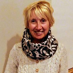 Winter in the Glen cowl knittedby Elizabeth Larsen Knitwear. Knitwear desiged and made in Scotland.