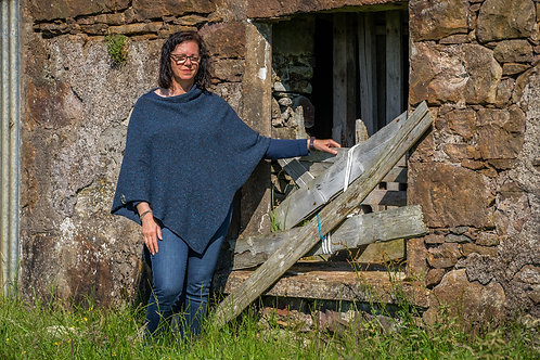 Midnight Crofter Poncho Donegal Wool
