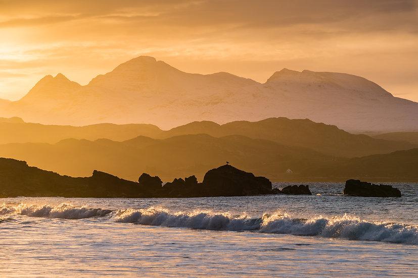 Morning light catching Beinn Alligin from Big Sand, Gairloch