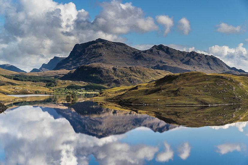 Mirror reflection of Beinn Airigh Charr, Loch Kernsary.