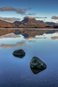 Almost mirror image on Loch Maree, looking towards Slioch from Slatterdale.